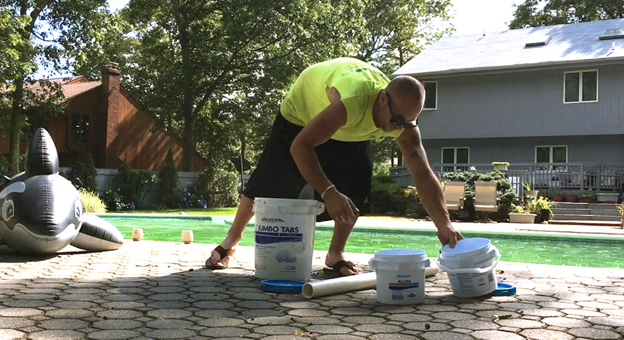 Remove algae with floc pool supplies hero - How long after shocking pool can i swim ...